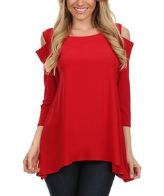 Red cutout sidetail top | zulily