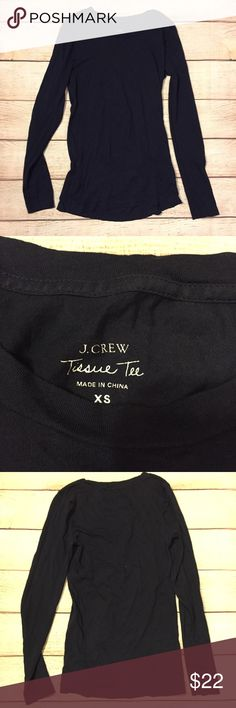 J crew tissue tee Super soft material. Thin tissue tee style. Dark navy blue color J. Crew Tops Tees - Long Sleeve