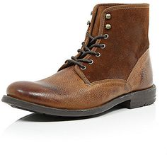 $50, Brown Leather Boots: River Island Brown Suede Leather Military Boots. Sold by River Island. Click for more info: https://lookastic.com/men/shop_items/286737/redirect
