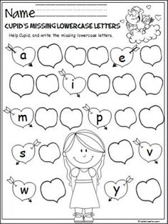 Free Valentine's Day letter writing activity.  Help Cupid by writing the missing lowercase letters on the Valentine's Day hearts.  Great February activity for Pre-K and Kindergarten.