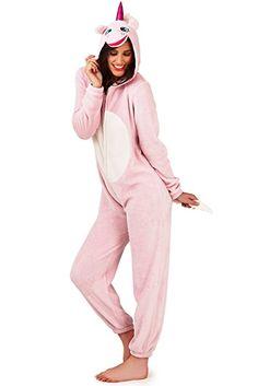 Femmes Licorne Combinaison Pyjama Pour Femmes 3D Oreilles Klaxon & Queue Tout En Un Vêtement de loisirs - Femmes, Rose, XL - 48-50