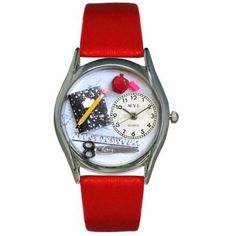 Whimsical Womens Teacher Red Leather Watch