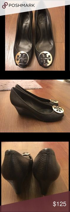 Tory Burch Black Peep Toe Wedges 6.5 Great condition! Please see photos. Dustbag included.  I have an extra Tory Burch box that can be included via request, but it won't be for the same wedges. Tory Burch Shoes Wedges