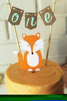 Woodland creatures smash cake, peach, orange, cake banner, one year old birthday cake, fox
