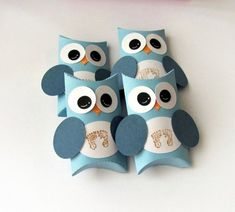Baby Boy Owl Pillow Treat Boxes Set of 12 Baby Shower