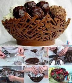 Chocolate lace bowls.