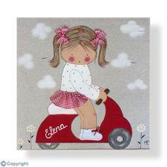Cuadro infantil personalizado: Niña en Vespa (ref. 12020-01)