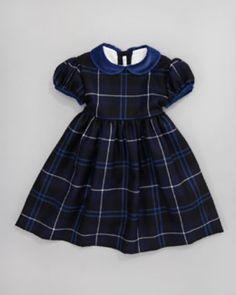 Blue plaid dress with color collar Full skirt full sleeves
