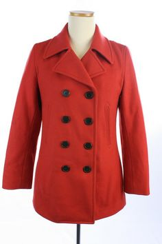 Recycle Your Fashions J. CREW Red WOOL Blend THINSULATE Double Breasted PEACOAT Jacket TOP M