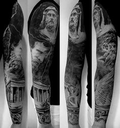 Greek Building With Gods Mens Unique Sleeve Tattoos