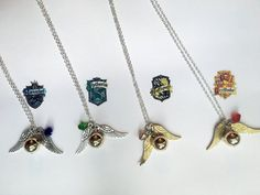 Harry Potter Snitch Necklace with House Color Crystal  by Taypop