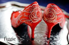 Ruby Red Wedding Shoes, hand painted by Figgie | www.figgieshoes.com