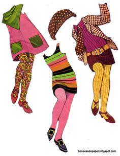 The Mods 1967 paperdoll's outfits ☀CQ #printables #paperdolls
