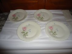 "NOS Mikasa Bone China April Rose Dessert Plates.  Set of 4.  6.50"" Diameter #Mikasa"