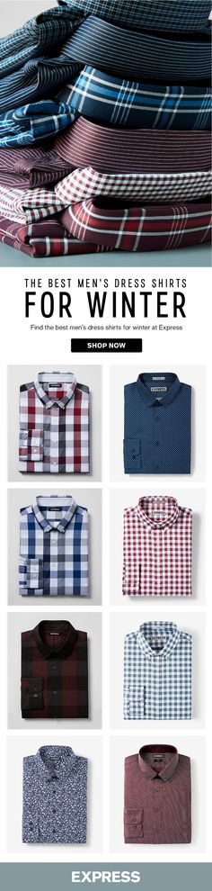 Whether you like patterns or solids, Express has the best men's dress shirt for you. Try a pattern dress shirt for a family holiday party or casual hang out. A solid dress shirt works best at holiday office parties. Find your favorite at Express.