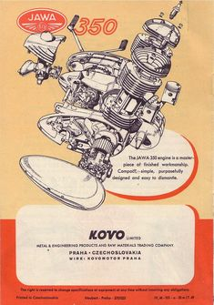 JAWA Motorcycles Emerged from Behind the Iron Curtain Bike Poster, Motorcycle Posters, Motorcycle Bike, Vintage Bikes, Vintage Motorcycles, Cars And Motorcycles, Jawa 350, Retro Bike, Motor Scooters