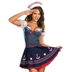 Sexy Womens Sailor Navy Pinup Girl Halloween Costume