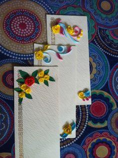 Design on envelope2 Paper Quilling Cards, Paper Quilling Designs, Quilling Craft, Quilling Flowers, Fancy Envelopes, Decorated Envelopes, Handmade Envelopes, Diy Envelope, Envelope Design