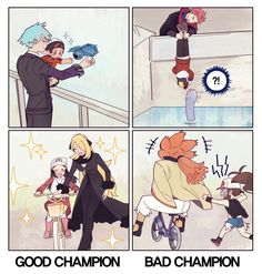That was gold XD (seriously, how'd he manage to retain his hat with that position? Pokemon Mew, Pokemon Fusion, Lance Pokemon, Pokemon Steven, Touko Pokemon, Pokemon Manga, Pokemon Ships, Pokemon Comics, Pokemon Funny