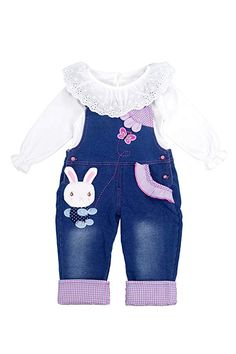 f1af48c9d942 Chumhey Little Girls   Baby 2-Piece Cute Overalls Jeans Clothing Set Little  Girls