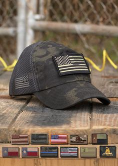 Nine Line Apparel - Dark American Made Mesh Back Hat with Patch Mens Tactical Pants, Tactical Wear, Tactical Clothing, Outdoor Wear, Outdoor Outfit, Nine Line Apparel, Men's Apparel, Mens Outdoor Clothing, Crossfit Clothes