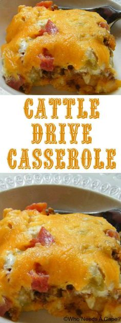 Cattle Drive Casserole, the ultimate comfort food. Layers of cheese, meat and mo… Cattle Drive Casserole, the ultimate comfort food. Layers of cheese, meat and more cheese make for this satisfying casserole beyond delicious. Beef Dishes, Food Dishes, Main Dishes, Bisquick Recipes, Bisquick Casserole Recipe, Biscuit Recipe, Good Food, Yummy Food, Tasty