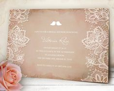 Shabby Chic Bridal Shower Printable Invitation by VGInvites on Etsy. This invitation can be customized with your event's information. Add on an RSVP card to your package. Cost effective and cheep wedding invitation ideas.