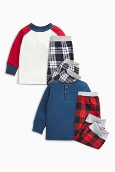 Buy Red/Navy Check Pyjamas Two Pack (9mths-8yrs) from the Next UK online shop