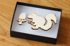 squirrel and acorn brooch, laser cut wood, woodland theme natural jewellery Laser Cut Wood, Laser Cutting, Acrylic Cutter, Laser Cut Jewelry, Woodland Theme, You Are Awesome, Acorn, Squirrel, Diy Design