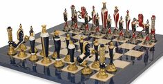 Renaissance Hand Painted Chess Set & Blue Chess Board Package