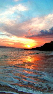 Sunset at Big Beach in Maui, Hawaii. #beach #sunset #maui #hawaii