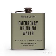 Vintage Emergency Drinking Water  - Property of U.S. Govt - 6oz Whiskey Hip Flask
