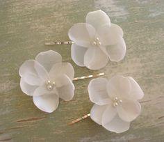 Cherry blossom Hair Accessories, Wedding Flower Pins, Ivory Bridal Bridesmaid Bobby Pins, Spring wedding, Australian handmade via Etsy