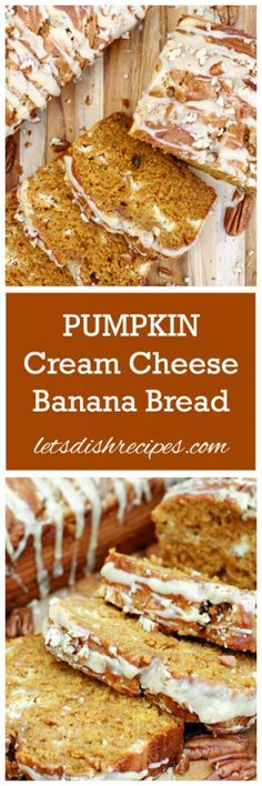 Pumpkin Cream Cheese Banana Bread Recipe   This Pumpkin Cream Cheese Banana Bread has so much going for it–pumpkin, bananas, and a ribbon of sweetened cream cheese–I don't know what else you could possibly want in a quick bread.