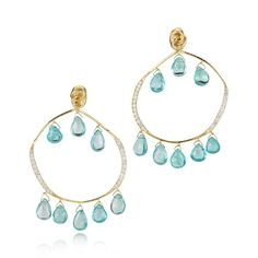18K yellow gold chandelier earrings topped with gold knot with blue apatite drops and diamonds pave set