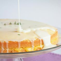 limoncello pound cake with meyer lemon curd filling and goat cheese, thyme & limoncello icing!
