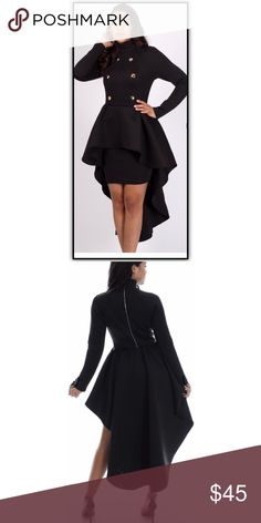Plus Size Black Hi-Lo Dress Long sleeve dress with mid skirt in front and flare detail in back. Gold button detail. Material is soft scuba material. Dresses High Low