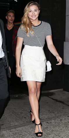 Chloe Grace Moretz elevated a striped crew-neck top with a white floral A-line skirt, a chain cross-body purse, and ladylike Louboutin T-strap peep-toes. - Look of the Day - September 28, 2014 - Chloe Grace Moretz from #InStyle