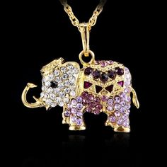 3D Animal Elephant Crystal Rhinestone Pendant Long Necklace Gold Sweater Chain #Unbranded #Chain #partyCasualbanguetcostumAccessories