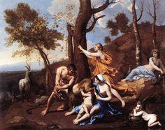 """La crianza de Júpiter"" 1635-37 (Óleo sobre lienzo); ´Dulwich Picture Gallery, Londres´ - Nicolas Poussin"
