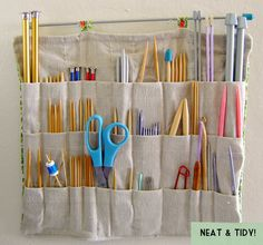The Dapper Toad: Knitting Needle Organizer if I had a craft room or an allocated space in the house, I'd do this for my crochet hooks. Yarn Storage, Craft Room Storage, Craft Organization, Storage Organizers, Storage Ideas, Hanging Organizer, Ribbon Storage, Pocket Organizer, Craft Rooms