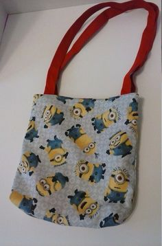 Kids Minion Tote back with orange inside by RebeccaEdwardsQuilts