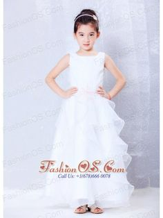 Custom Made White A-line Scoop Beading Flower Girl Dress Ankle-length Organza- $89.65  http://www.fashionos.com  http://www.youtube.com/user/fashionoscom?feature=mhee  This beautiful little girl's dress would be great for a flower girl or mini-bride. It is made from a lovely satin fabric and features straps with round neckline. The waist is accented with pretty embroidered details. The skirt has a tulle-like ruffle. A hidden zip closure in the back secures the dress in place