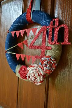 Fourth of July Wreath, but I would leave the lettering off...