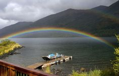 Rainbow over Karluk Lake, Kodiak Island, Alaska (© Jason Wood/age fotostock)