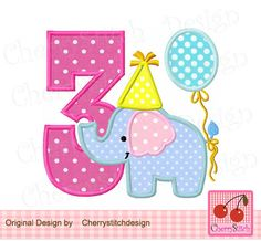 Birthday Elephant Number 3,  Baby Elephant with number 3, Birthday number applique -4x4 5x5 6x6 inch-Machine Embroidery Applique Design by CherryStitchDesign on Etsy