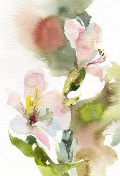 Abstract Flowers Original #Watercolor Painting Floral Modern #Watercolour Art Color theme: pink, green  One of a Kind #Art Watercolour Art Piece  Size: 5.5x8.5'' (14x21.5'' cm... #art #etsy #trending #sale #decor #painting #watercolor #watercolour #auqarelle