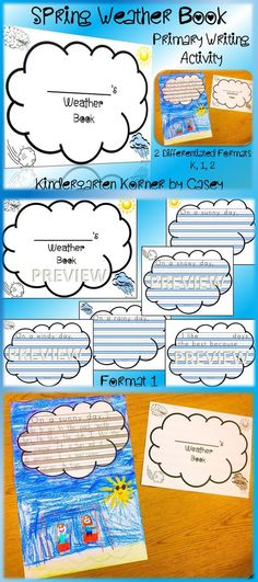 Weather Writing Books are a great spring writing activity for students in kindergarten, first, or second grade. Integrate science and writing with these NO PREP books! Great for Writing Workshop, Work on Writing Center, and small group work.