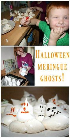 How to make Halloween meringue ghosts. Halloween Kids, Halloween Themes, Halloween Crafts, Christmas Crafts, Activities For Kids, Crafts For Kids, Cooking With Kids, Cooking Ideas, Food Ideas