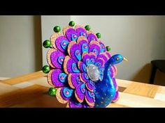 DIY How To Make Peacock Best Out Of Waste Home Decor Show piece is part of Peacock crafts - Cd Crafts, Foam Crafts, Diy Home Crafts, Creative Crafts, Crafts To Make, Easy Crafts, Paper Crafts, Handmade Home Decor, Handmade Crafts